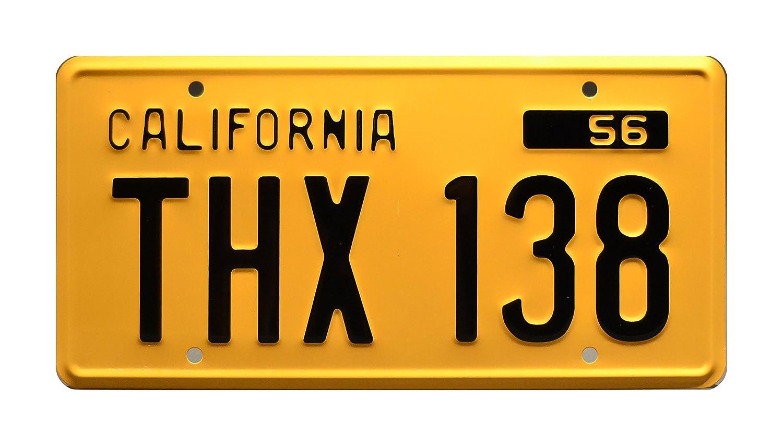 American Graffiti   Screen Accurate   THX 138   Metal Stamped Vanity Prop License Plate Celebrity Machines SATHX138