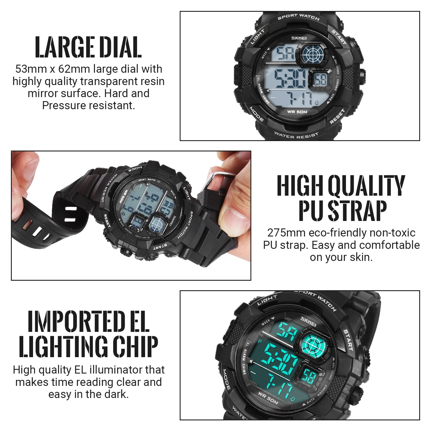HIwatch Men's Sport Watches LED Military Watches and 50M Waterproof Casual Luminous Stopwatch Alarm Simple Army Watch, Electronic Analog Quartz Watches for Youth Students Gift, Black by Hi Watch (Image #5)