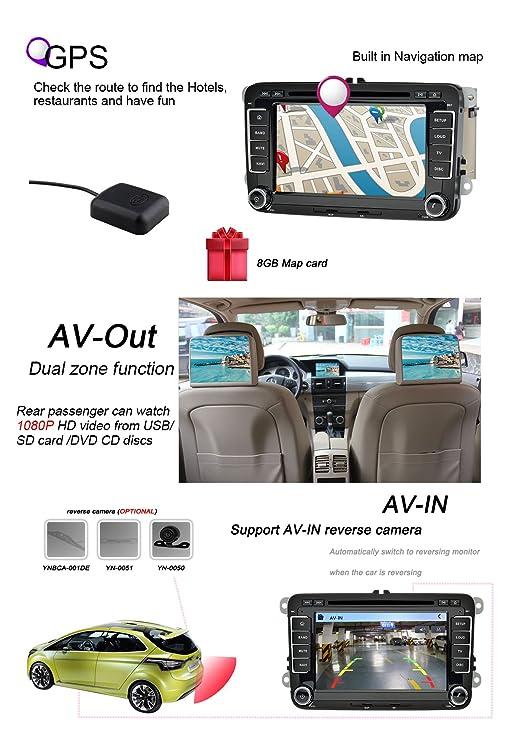 ... Estéreo De Navegación Por Satélite In Dash Navegación GPS De Coches Bluetooth 7 Color De Iluminación Del Botón Autoradio Para VW: Amazon.es: Electrónica