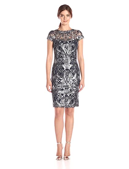 72ec29608e3 Amazon.com  Tadashi Shoji Women s Corded Lace Cap-Sleeve Dress  Clothing