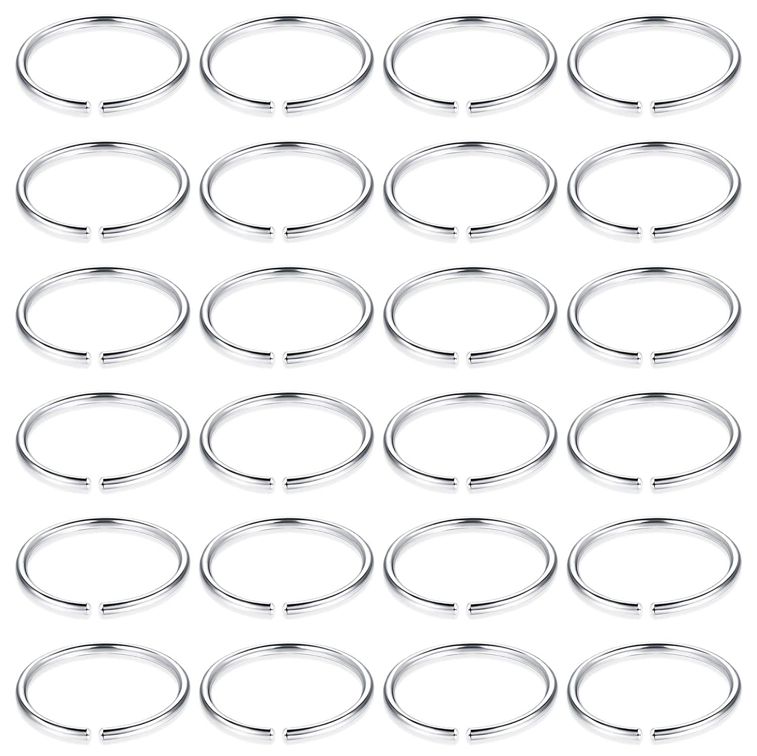 ORAZIO 24PCS 20G Fake Nose Ring Hoop Stainless Steel Nose Lip Cartilage Helix Tragus Ear Hoop Piercing Ring CC56-24C