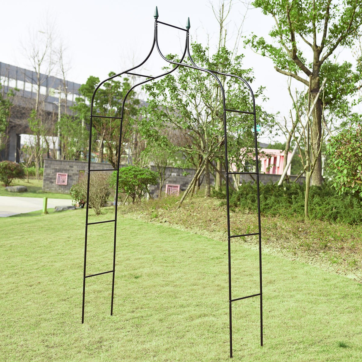 8'4'' x 4'7'' Steel Garden Arch Rose Arbor Climbing Plant Outdoor Garden Outdoor