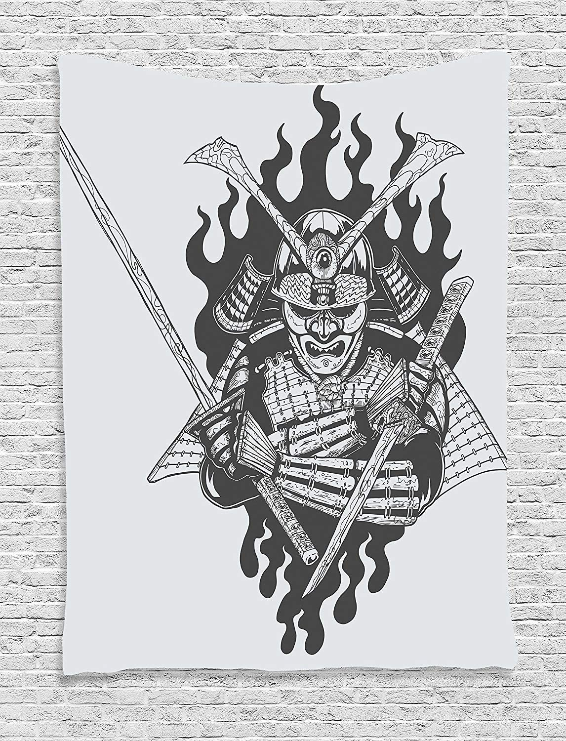 ADAM MARTINEZ JR Japanese Decor Collection, Fearsome Ghost Ninja in Fire Oriental War Mythology Spirituality Eastern Fighter Print, Bedroom Living Room Dorm Wall Hanging Tapestry, Black White