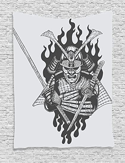 ADAM MARTINEZ JR Japanese Decor Collection, Fearsome Ghost Ninja in Fire Oriental War Mythology Spirituality Eastern Fighter Print, Bedroom Living ...
