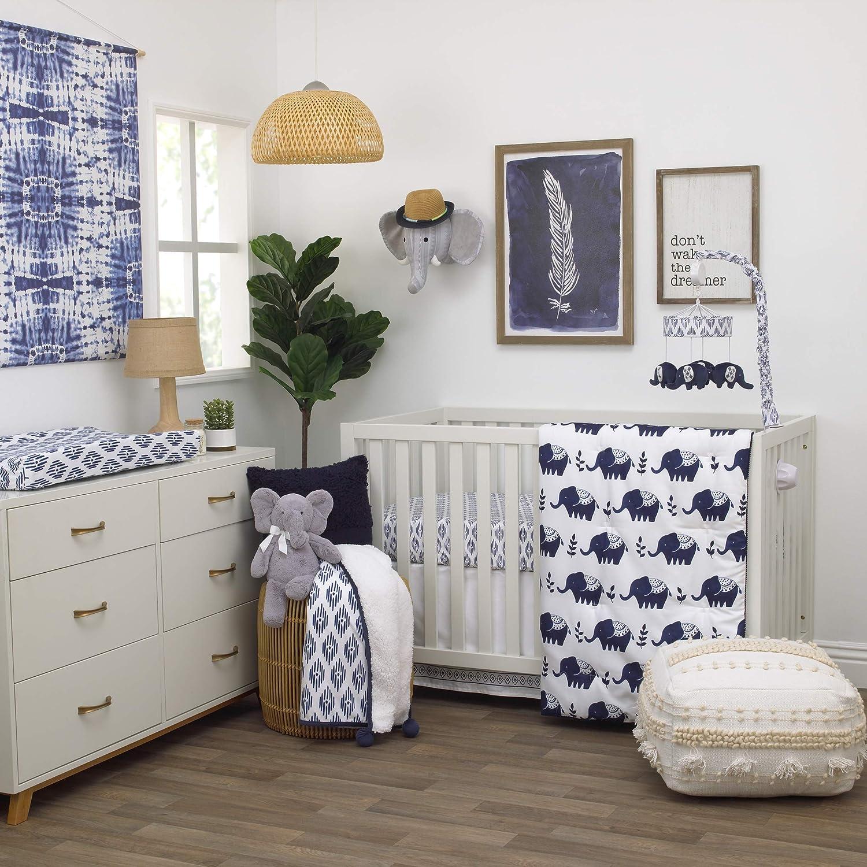 NoJo Indigo Hues Blue and White Elephant 4 Piece Nursery Crib Bedding Set