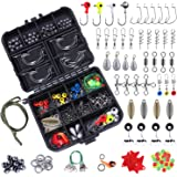 TOPFORT 187/230pcs Fishing Accessories Kit, Including Jig Hooks, Bullet Bass Casting Sinker Weights, Fishing Swivels…