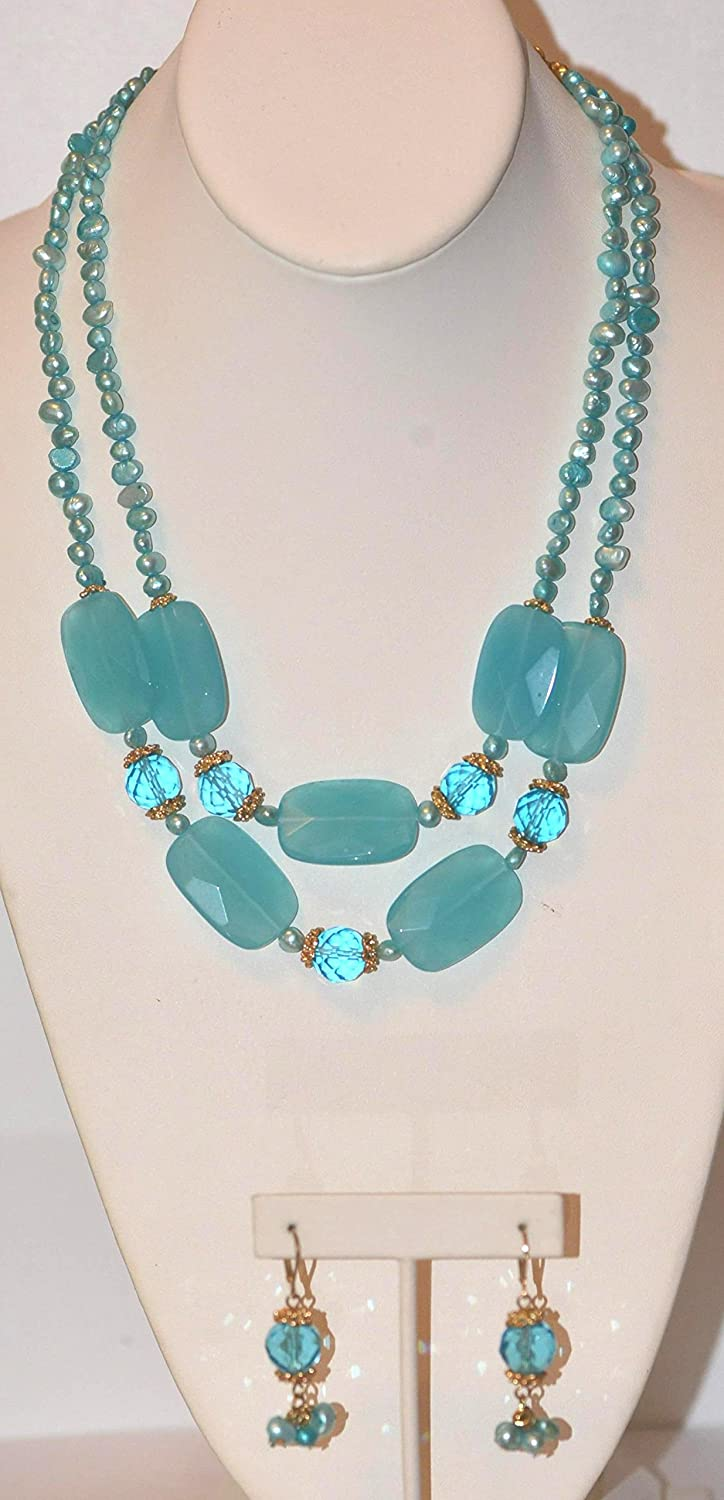 """17"""" Long 2 Row Beaded Necklace with Facted Glass Nuggets, Fresh Water Pearl + Matching Earring"""