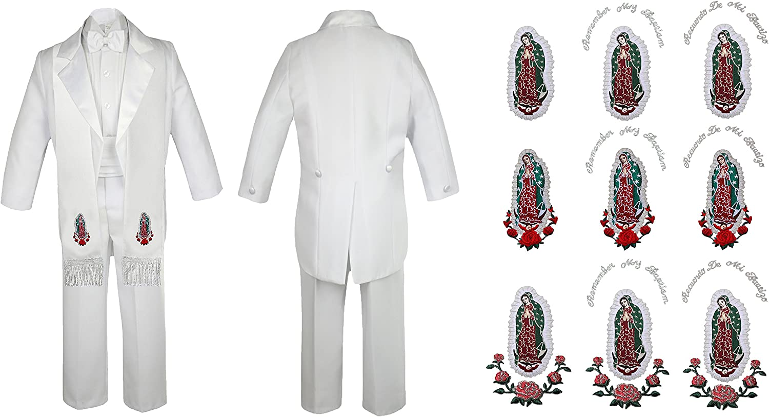 Leadertux Baby Boy Christening White Shorts Shirt Set Bow tie Guadalupe Maria Stole Sm-4T