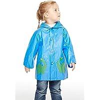 Superora PVC Poncho Antipioggia Bambini Riutilizzabile con Cappuccio Mantella Impermeabile Cartoon con Bottone per Ragazzi Ragazze