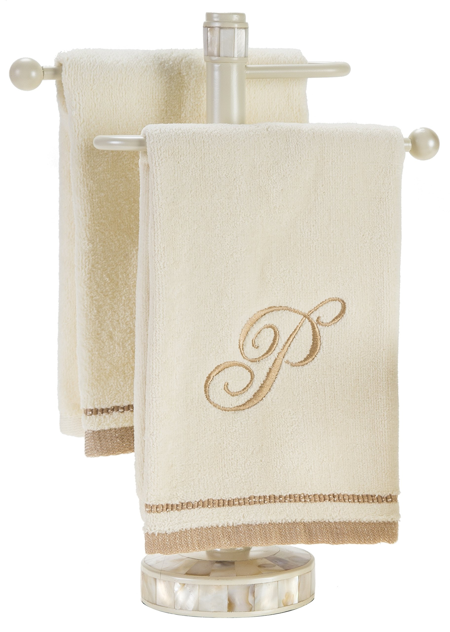Monogrammed Gifts, Fingertip Towels, 11 x 18 Inches - Set of 4- Decorative Golden Brown Embroidered Towel - Extra Absorbent 100% Cotton- Personalized Gift- For Bathroom/Kitchen- Initial S (Ivory) by Creative Scents (Image #6)