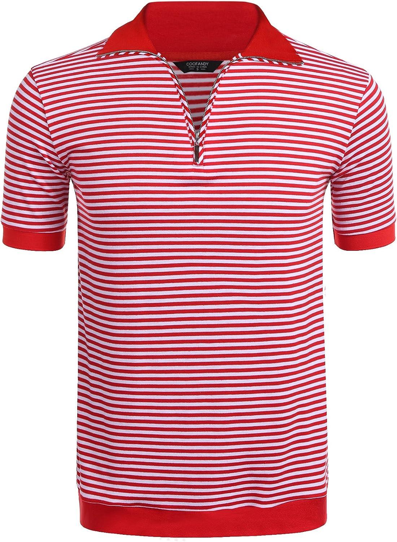 WNSY Men T-Shirt Short Sleeve Striped Contrast Stylish Polo Shirt
