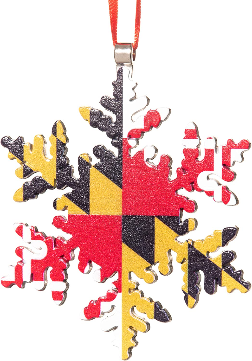 Collegiate Pulse Maryland Flag Snowflake Christmas Ornament