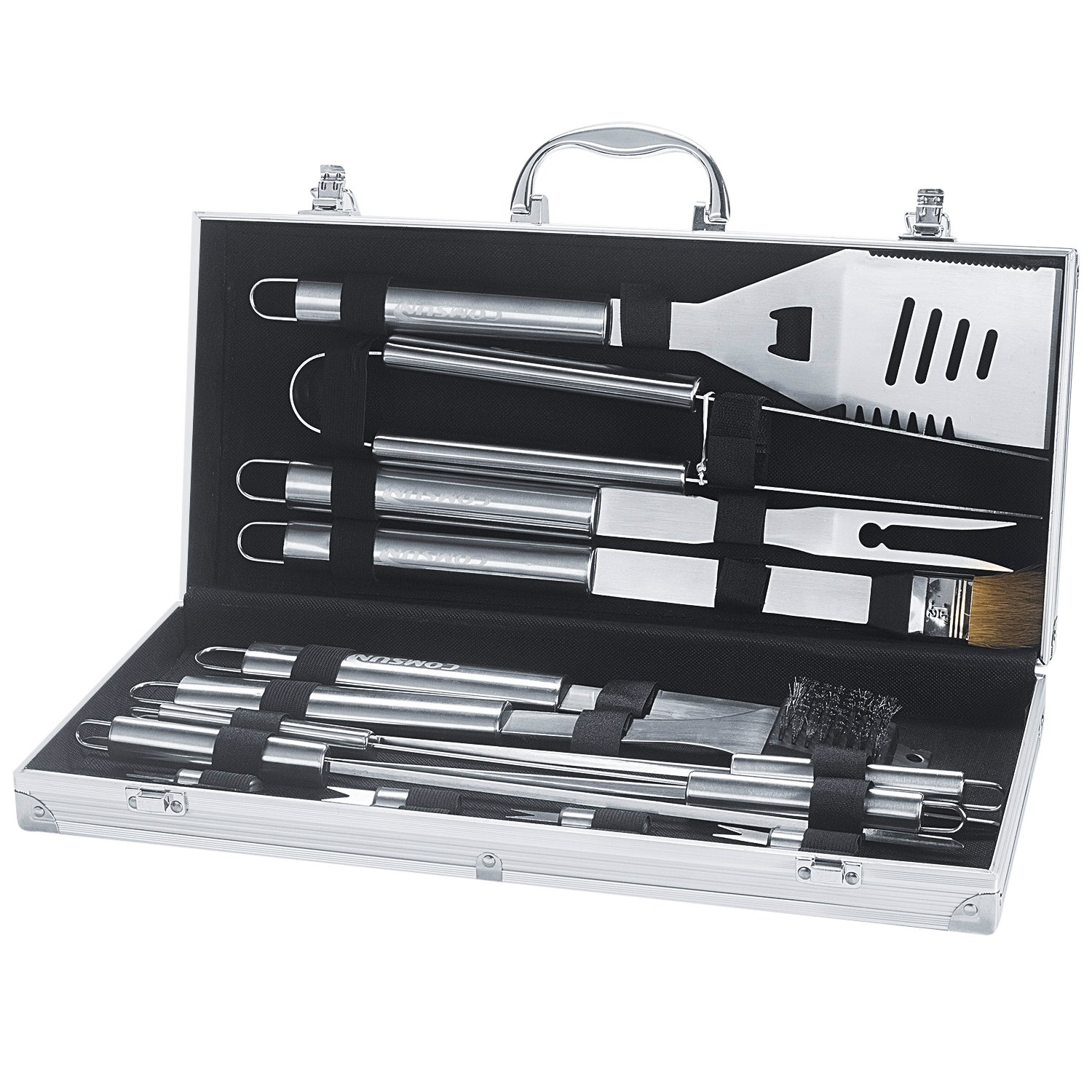 COMSUN Grill Accessories, 18 Piece Stainless Steel Barbecue Tools Set, with Aluminum Storage Case for Outdoor Camping Grilling Utensils FBA-HOME-013