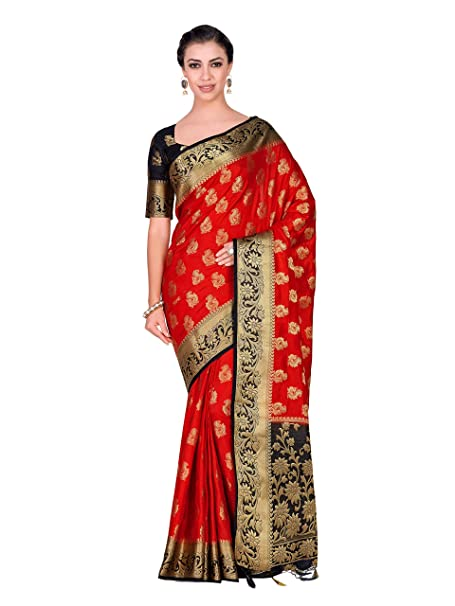 ad9e451876d Mimosa Art silk Wedding saree Kanjivarm Pattu style With Contrast Blouse  Color  Red (4315-357-2D-RED-BLK)
