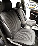Big Ant Car Seat Cushion, Full Size 2 PCS Breathable Universal Four Seasons Interior Front or Back Seat Covers for Auto Supplies Office Chair with PU Leather(Black)