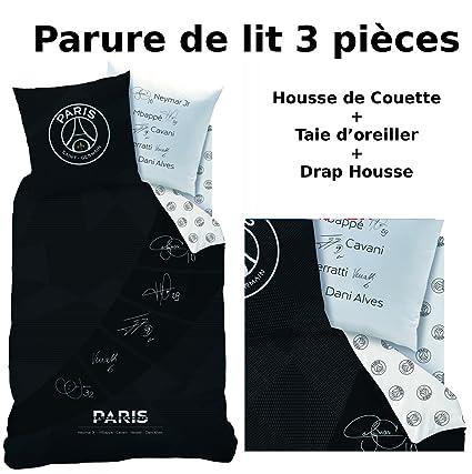 PSG Parure de Lit 3 Pi/èces Taie doreiller Drap-Housse Housse de Couette Paris-St-Germain 140x200 cm