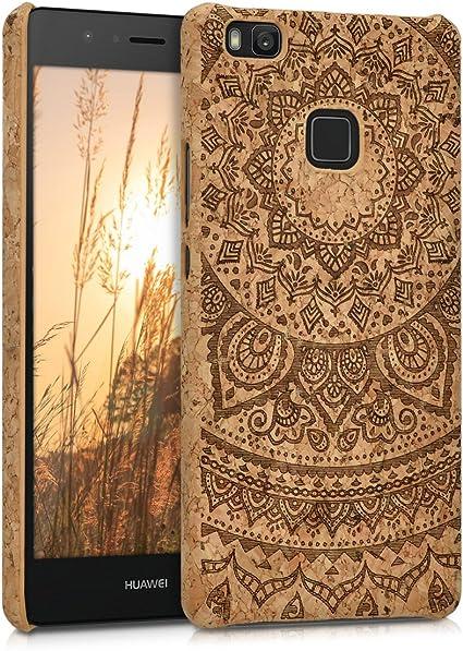 kwmobile Cover in Sughero Compatibile con Huawei P9 Lite - Backcover Protettiva - Case Protezione Rigida Smartphone - Sole Indiano Marrone ...