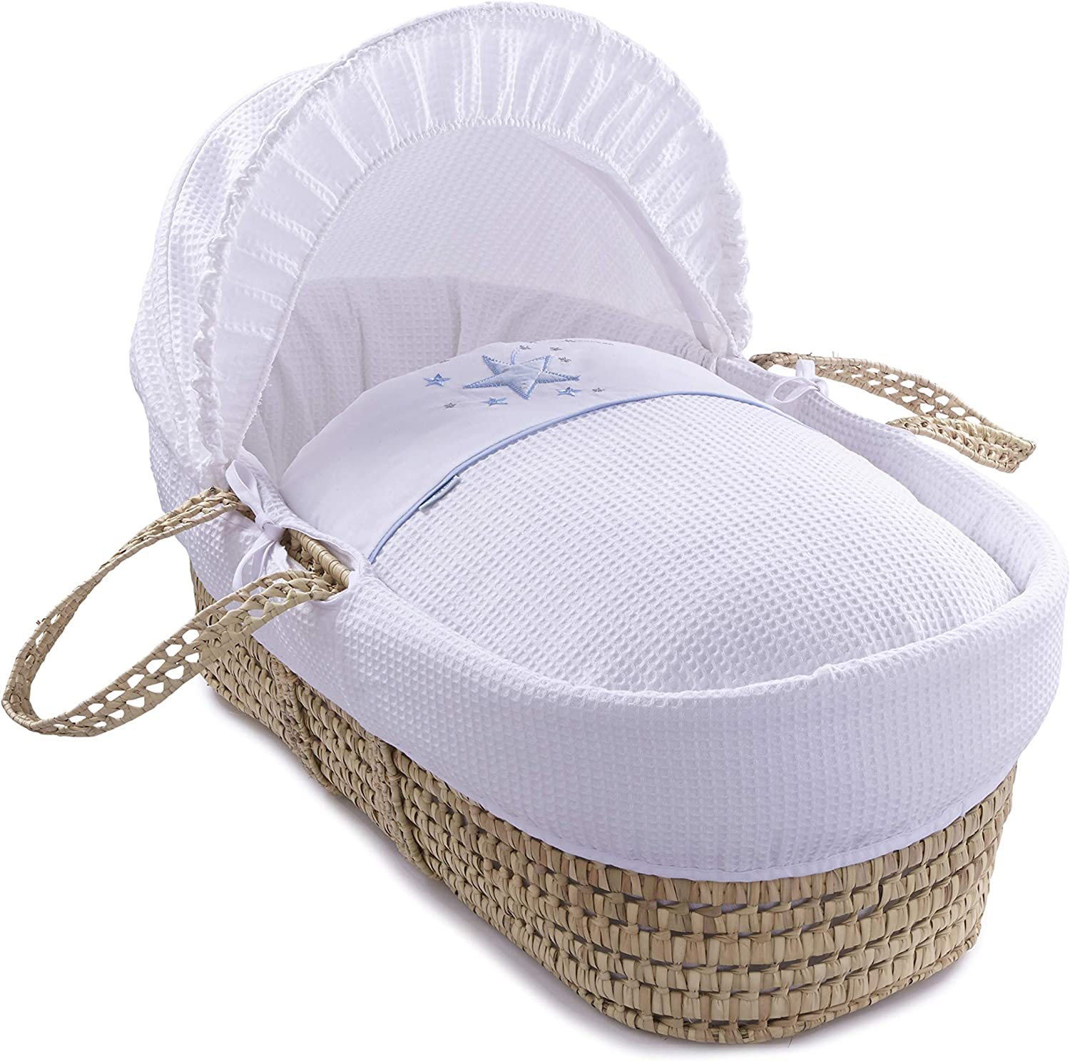 Clair de Lune Stardust Palm Moses Basket inc Bedding Mattress /& Adjustable Hood