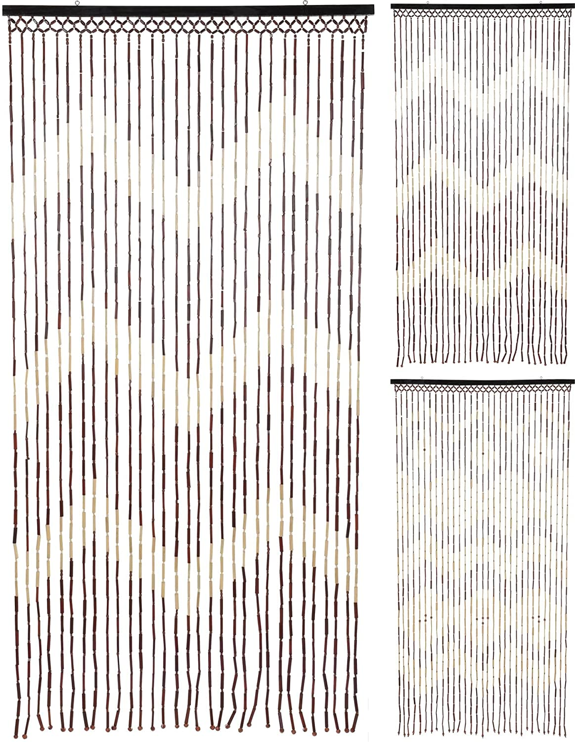 Carousel Home and Gifts Natural Beaded Bamboo Hanging Patterned Fly Insect Screen Door Curtain 90x180cm ~ Design Varies
