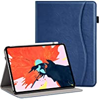 Ztotop Case for iPad Pro 11 Inch 2018,Premium Leather Business Folio Case Cover,with Stand and Pocket,Support 2nd Gen Apple Pencil Wireless Charging and Auto Wake/Sleep,Multi-angle,Blue