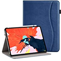 Ztotop Case for iPad Pro 11 Inch 2018 Release, Premium Leather Slim Multiple Viewing Angles Folding Stand Folio Cover with Auto Wake/Sleep (Support 2nd Gen Apple Pencil Wireless Charging), Blue