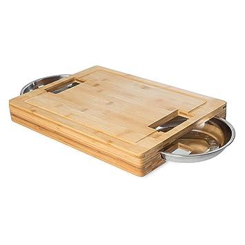 Kesper 58353 13 2 Schneidebrett Mit Auffangschalen Bambus Braun