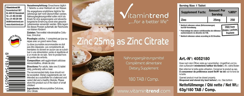 Zinc 25 mg - citrato de zinc - vegano - altamente dosificado - sin estearato de magnesio - 180 pastillas - tratamiento para 6 meses: Amazon.es: Salud y ...