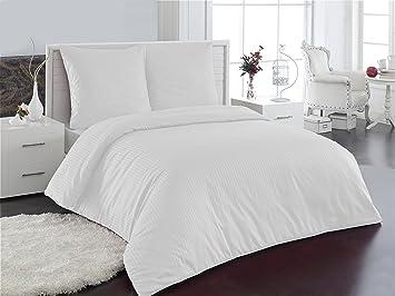 3-Tlg Bettwäsche 100/% Baumwolle Qualitätsware 200x200  Weiß Beige  Neu