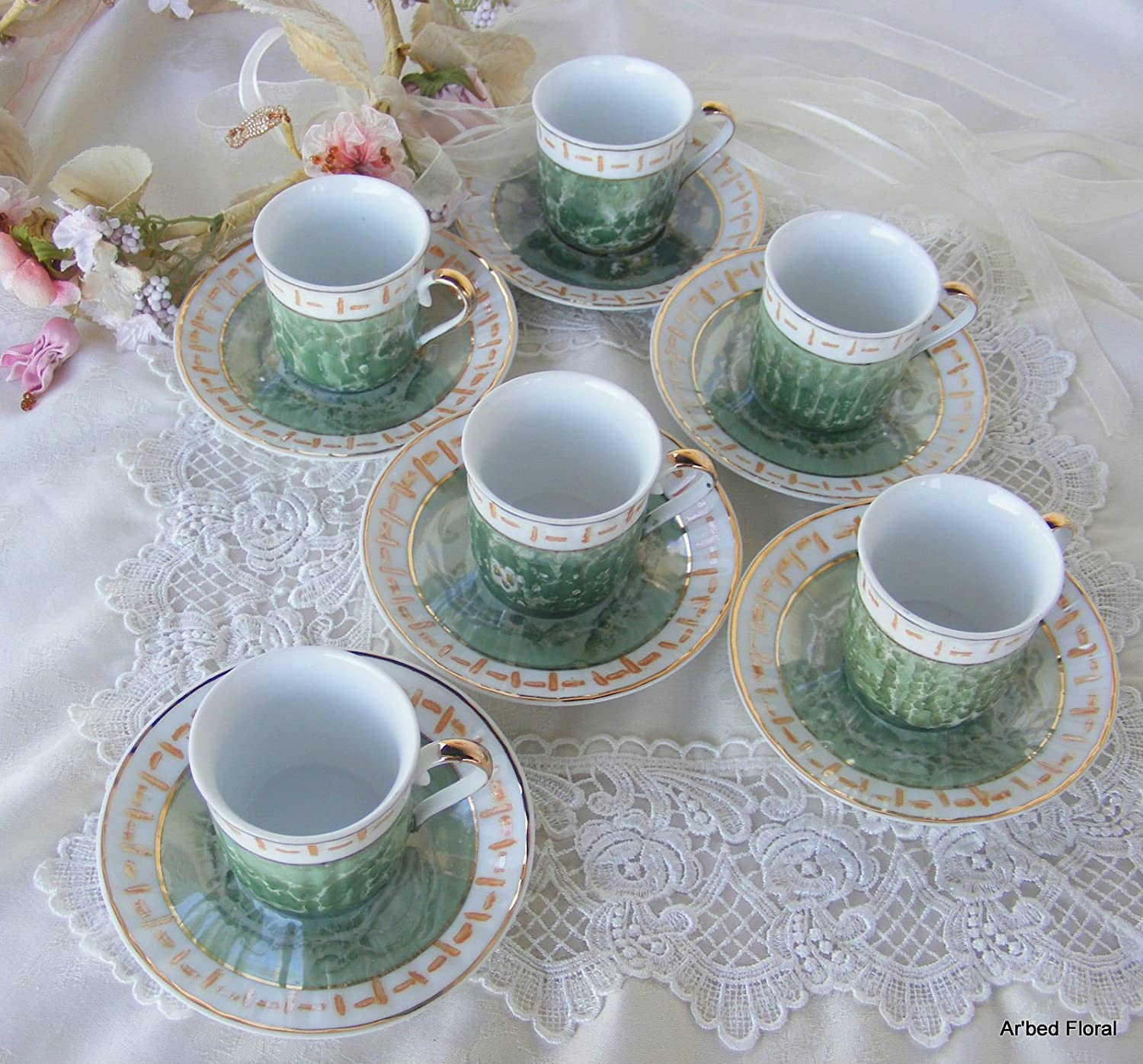 Amazoncom Childrens Set Of 6 Tea Cups And Saucers Green
