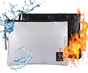"""Fireproof Document Bags (2000℉), ss shovan Waterproof and Fireproof Money Bag 13""""x 10"""" with Zipper Fireproof Safe Storage Pouch for Money, Documents, Jewelry and Passport (2 Pack-Black/Sliver)"""