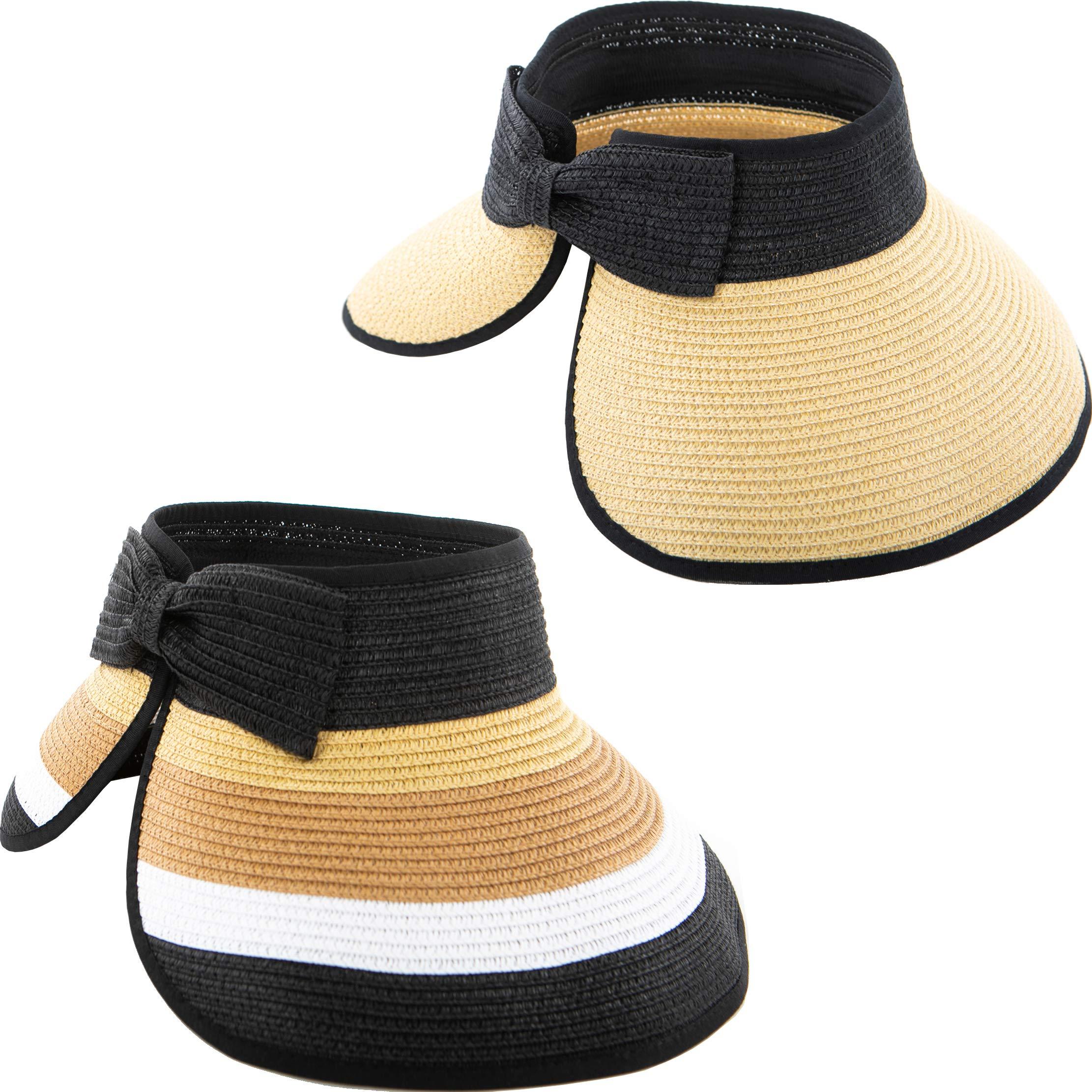 Funky Junque Women's Sun Visor Wide Brim Straw Roll up Ponytail Hat
