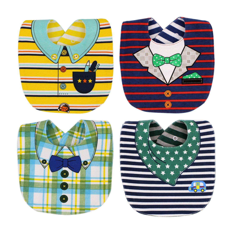 EGOFLEX 4-Pack Premium Baby Bibs Set - Burp Cloths, Teething, Feeding, Drooling Reversible for Babies Boys with Adjustable Snaps