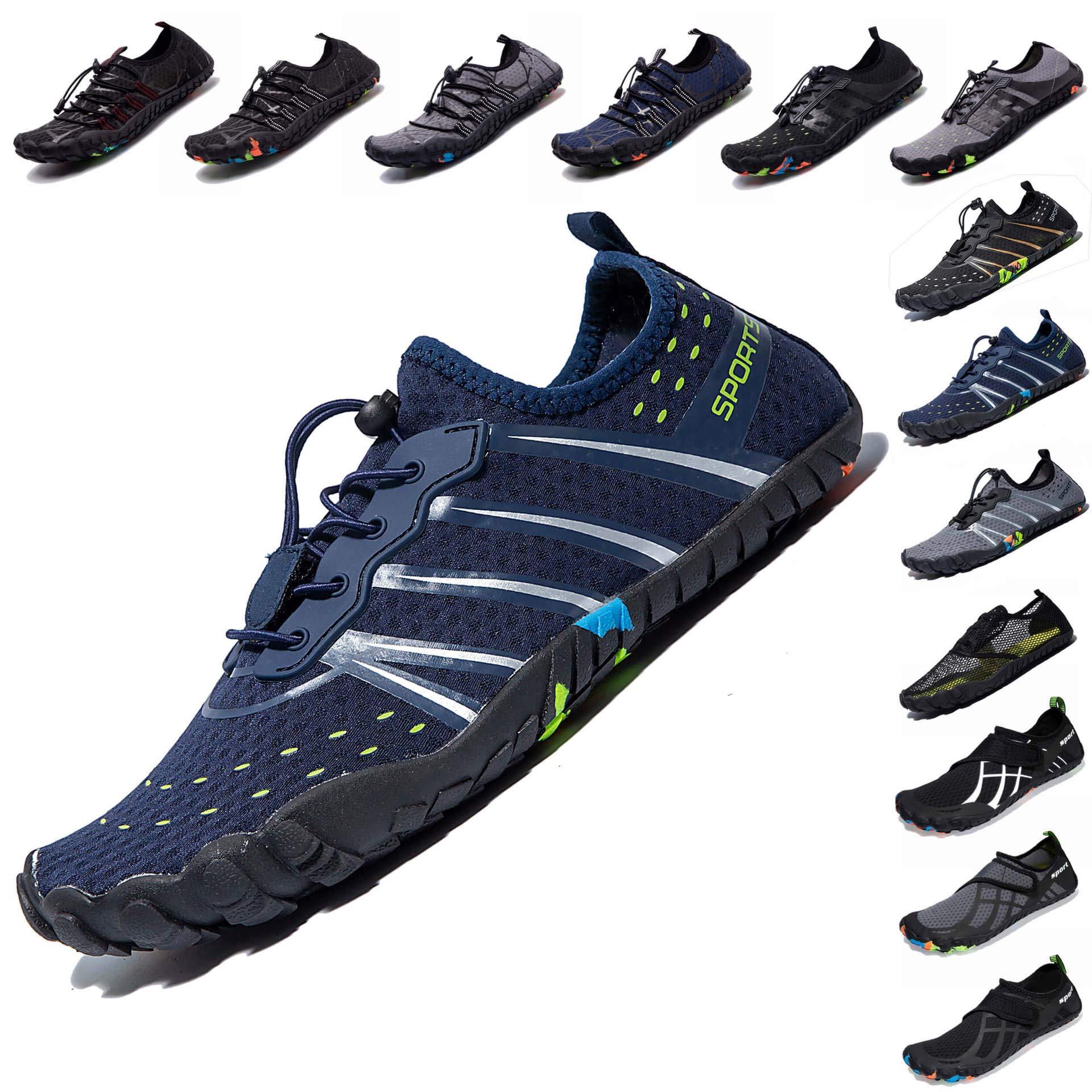 LINGTOM Mens Womens Aqua Water Shoes Quick Dry Barefoot Sports Exercise for Walking Swimming Diving Beach Surf Pool Yoga,Dark Blue 12.5 M US Women / 11 M US Men by LINGTOM (Image #1)