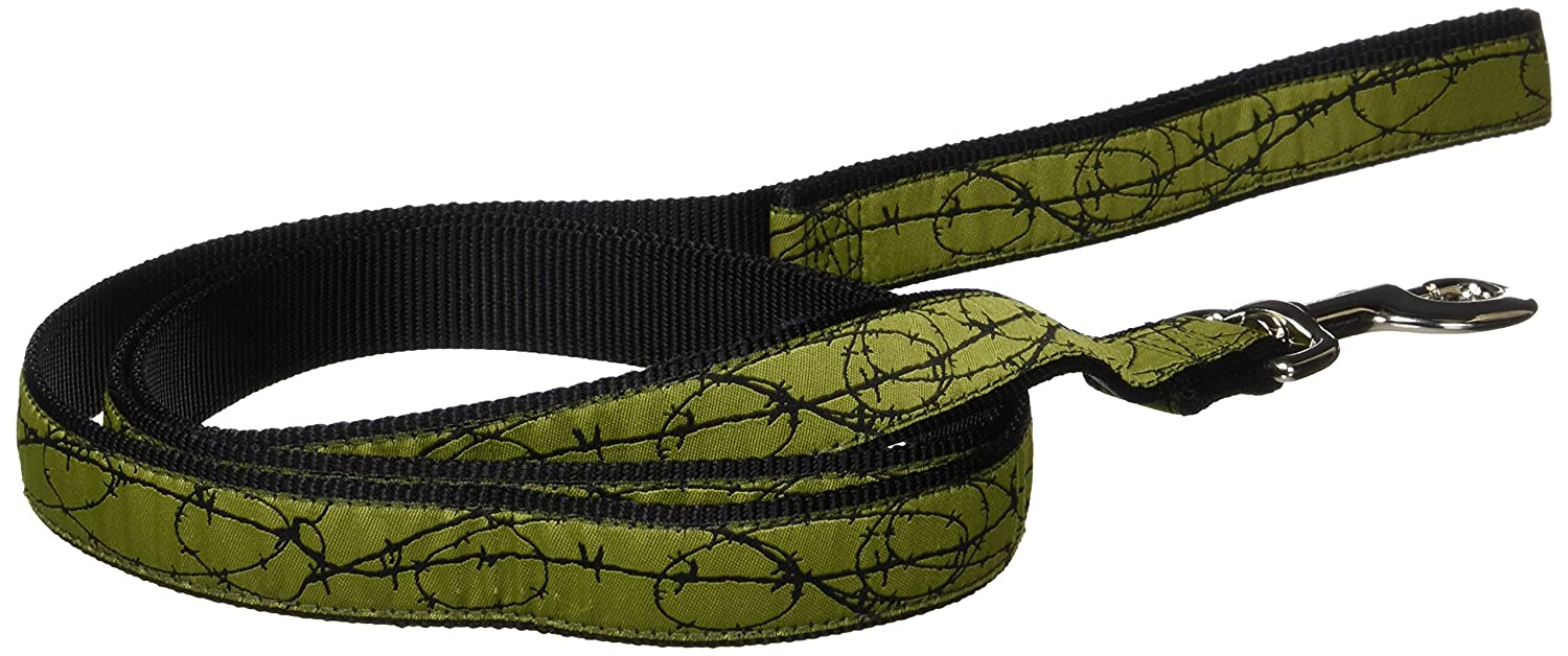 Hamilton Single Thick Dog Leash with Barbed Wire Patterned Ribbon Overlay, 1-Inchx6-Feet, Green