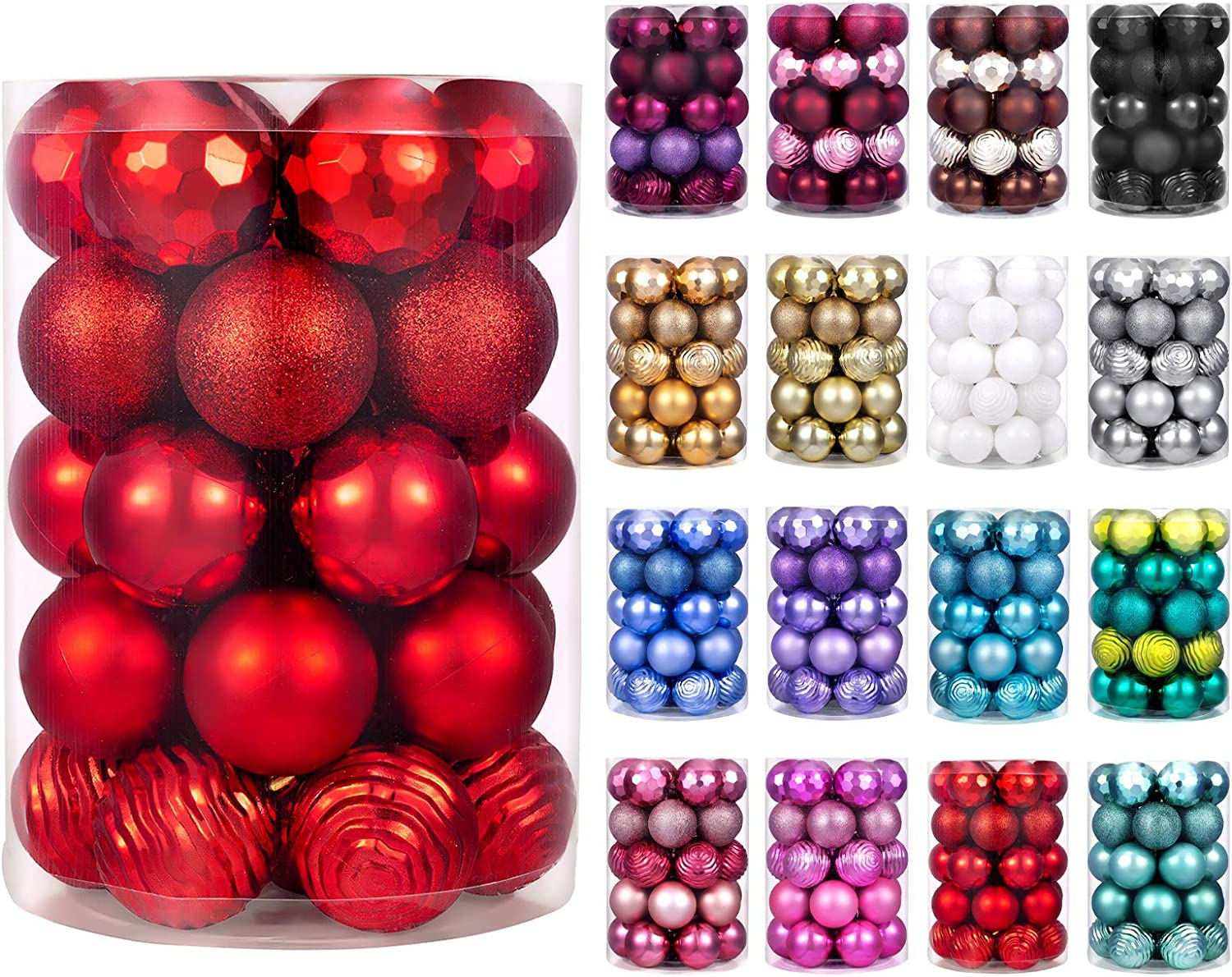 "XmasExp 60mm/2.36"" Christmas Ball Ornaments Shatterproof Christmas Ornaments Set Decorations for Xmas Tree Balls - 34ct (2.36'', Red)"