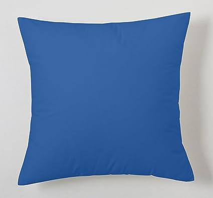 ES-TELA - Funda de cojín COMBI LISOS color Azulón - Medidas 40x40 cm. - 50% Algodón-50% Poliéster - 144 Hilos