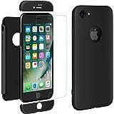 "ivencase iPhone 7 Cover Nero Custodia iPhone 7 Case Premio Ibrido Rugged 3 in 1 Duro AntiGraffio Macchia PC Custodia + Pellicola Vetro Temperato Protettiva per Apple iPhone 7 4.7"""