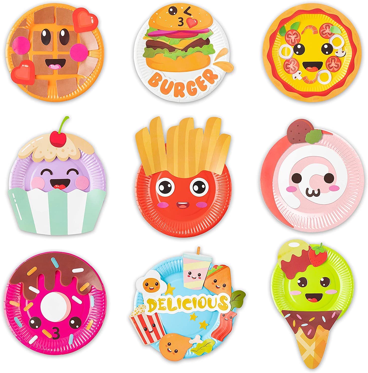 MALLMALL6 9Pcs Food Themed Paper Plate Art Kits for Kids Early Learning DIY Craft Art Project Waffle Pizza Hamburger Chips Donut Dessert Party Favors Decorations Classroom Art Supplies for Boys Girls