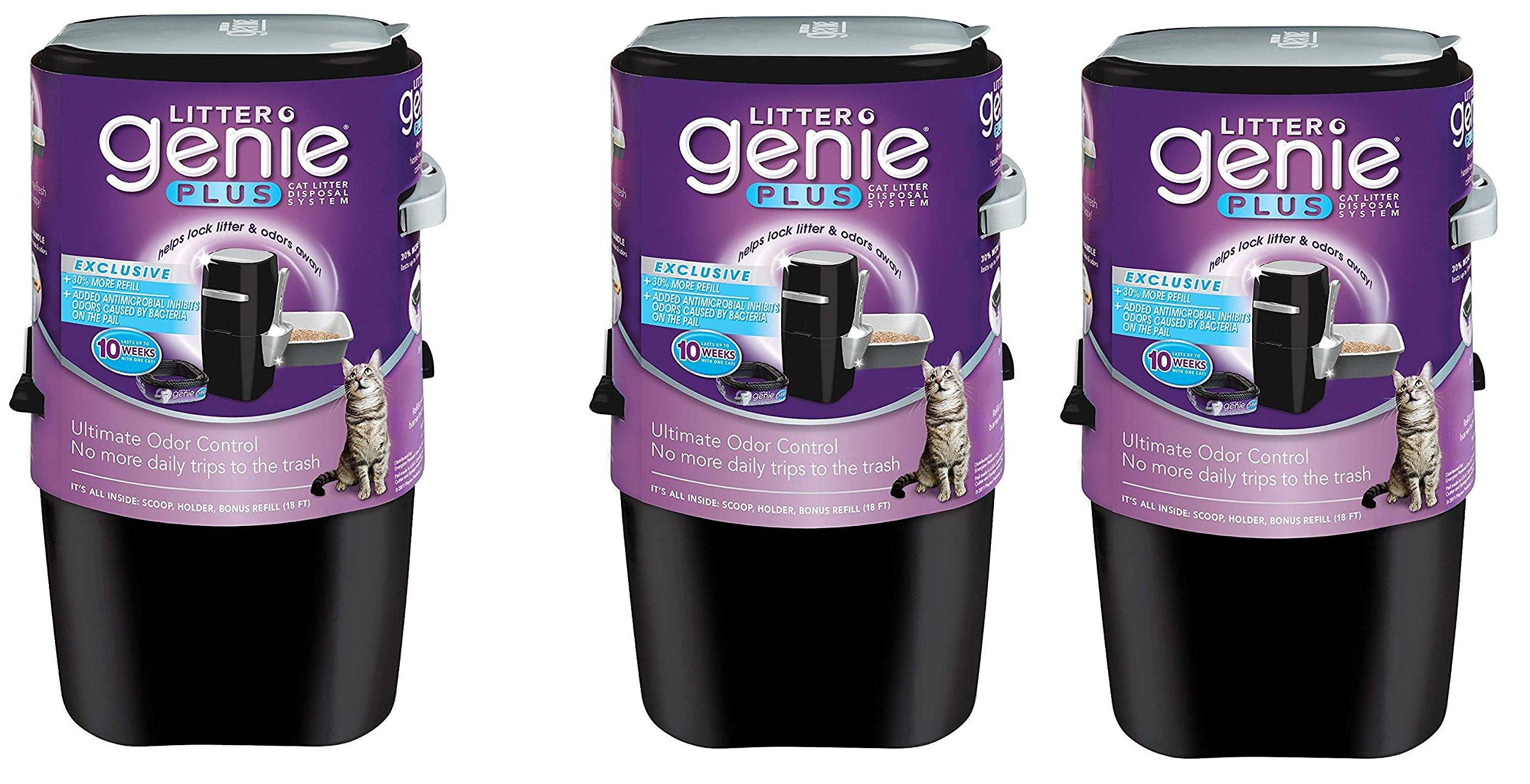 Litter Genie Plus Cat Litter Disposal System mrnasM with Odor Free Pail System EEKOvi, 3 Pack(Black)