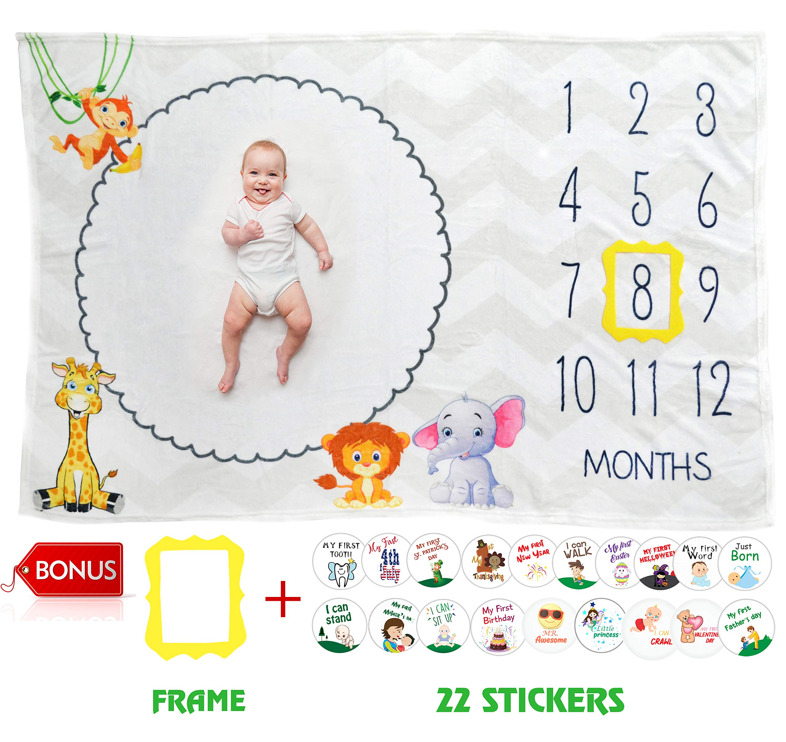 Baby Monthly Milestone Blanket by Serene Selection Large 60''x40'', Photography Prop, Bonus 22 Milestone Stickers & Date marker, Thick, Soft, and Premium Material, Unisex, Girl or Boy, Personalized Pics