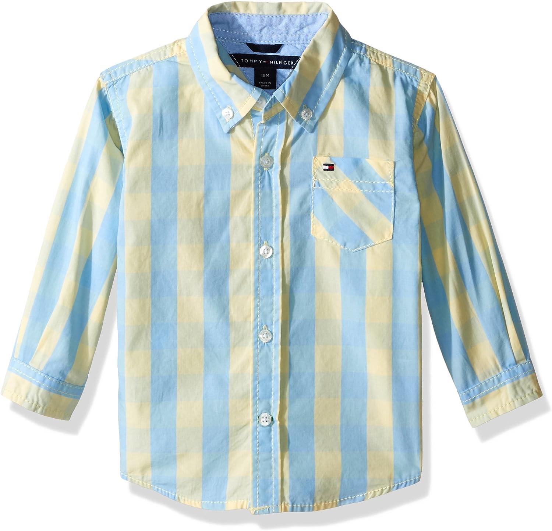 Tommy Hilfiger Niños Long Sleeve Button Down Shirt camisa manga larga de botones Manga Larga Camisa de botones - Amarillo - 12 meses: Amazon.es: Ropa y accesorios