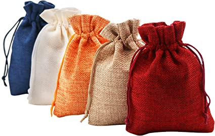 Linen Calico Drawstring Bags Xmas Sack Stocking Storage//Laundry Bag Universal US