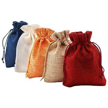 Amazon.com: SumDirect - Bolsas de regalo de lino con cordón ...