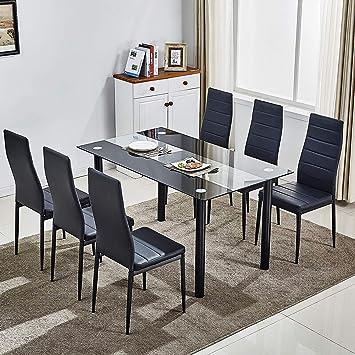 huiseneu Moderne en Verre Noir Salle à Manger Ensemble de chaises de ...