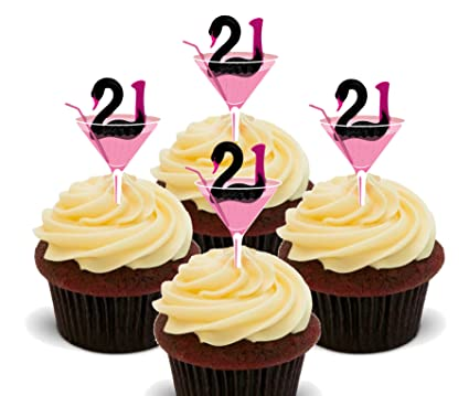21st Birthday Girl Edible Cupcake Toppers Stand Up Wafer Cake
