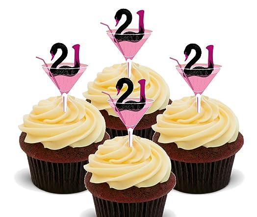 21st Birthday Girl Edible Cupcake Toppers Standup Wafer Cake