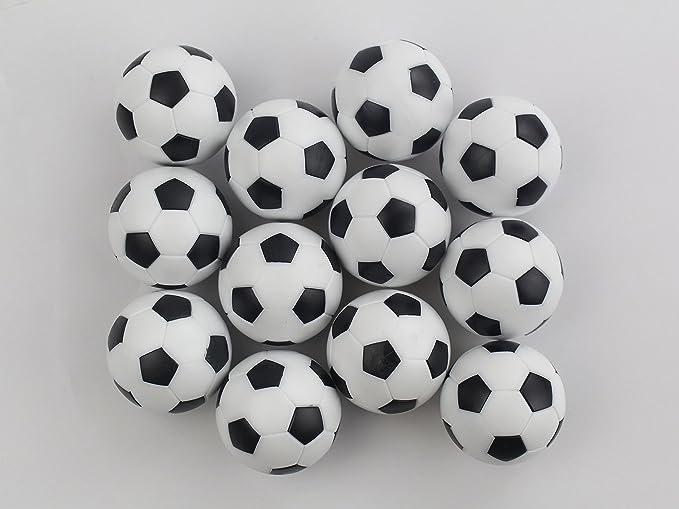 12 bolas de repuesto para futbolín, tamaño pequeño, 36 mm, color blanco y negro: Amazon.es: Deportes y aire libre