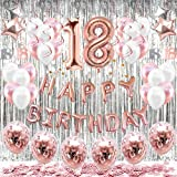 HAPYCITY 18th Birthday Decorations Balloons (55pack)Rose Gold 18 Balloons Number Happy 18 Party Supplies for Her-Perfect…