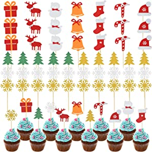 51pcs Christmas Cupcake Toppers Cake Toppers Picks Christmas Tree Snowman Snowflake Sock Hat Bell Elk for Xmas Party Favor Wedding Decoration Supplies