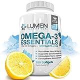 Omega 3 Essentials Fish Oil - 180 Capsules - Shown to Support Immune System, Assist Brain Health, Manage Cholesterol levels & Strengthen Bones - 1290 EPA DHA Fatty Acids - Lemon Flavor Burpless Softgel Supplements